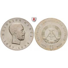 DDR, 5 Mark 1969, Hertz, st, J. 1526: Kupfer-Nickel-5 Mark 1969. Hertz. J. 1526; stempelfrisch 10,00€ #coins