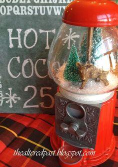 gumball machine, snow globe, snowglobe thealteredpast.blogspot.com