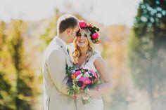 bright pink floral crown / lace wedding dress / Nashville Tennessee wedding venue / outdoors / farm / front porch farms / beautiful views / Ariel Renae Photography / Destination Wedding Photographer / Nashville Wedding Photographer / www.arielrenaephoto.com