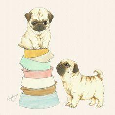 a pug lover ♡ by kang kulsri, via Behance