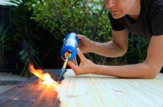 DIY: Charred Wood Tabletop Using Shou Sugi Ban via The Felted Fox   Remodelista