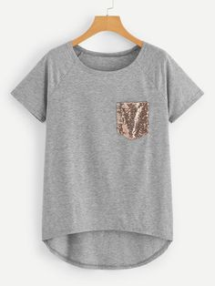 Casual Asymmetrical and Contrast Sequin Plain Asymmetrical Regular Fit Round Neck Short Sleeve Raglan Sleeve Pullovers Grey Crop Length Sequin Pocket Dip Hem Tee Plus Size T Shirts, Tee Online, Shirts Online, Mode Hijab, Cotton Style, Types Of Sleeves, Plus Size Fashion, Sequins, Fashion Outfits