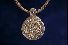 Viking age / Gilt silver pendant / Uppland/ Old man head ?