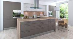 armoires de cuisine en couleur taupe et blanc avec plan de travail et crédence en bois