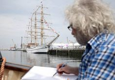 2015 Belfast Tall Ships Race - Stephen McClean sketching for Tall Ships paintings with the Lagan Boat Company #tallships2015