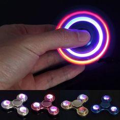 EDC Hand Spinner LED Light Finger Spinner Fidget Focus Reduce Stress Gadget