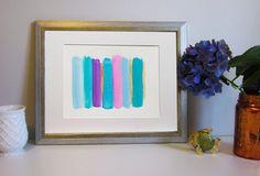 Blue Pink Stripes Watercolor Painting Modern by ReginaArt on Etsy