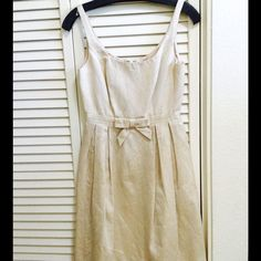 Reduced! Carmen Marc Valvo Beige Gold Bow Dress