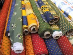 French cotton textiles from Provençe in traditional patterns for the French country look.