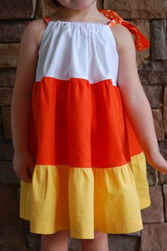 Items similar to Custom Boutique Girls Clothing Halloween Candy Corn Twirl Dress on Etsy Cute Little Girl Dresses, Cute Little Girls, Girls Dresses, Baby Sewing Projects, Sewing For Kids, Frock Patterns, Frocks For Girls, Divas, Clothes Crafts