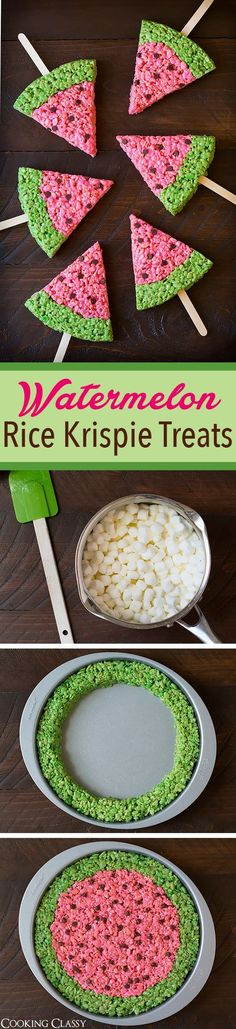 Watermelon Rice Krispies Treats - the perfect summer treat! So easy and so fun!