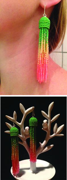 Beaded tassel earrings. Perfect for summer parties :) Made from http://blog.smyks.dk/diy-tassel-earrings/