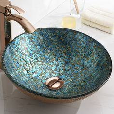Shop the Chrona Blue Glass Circular Vessel Bathroom Sink at Perigold, home to the design world's best furnishings for every style and space. Morrocan Bathroom, White Bathroom, Bathroom Interior, Modern Bathroom, Small Bathroom, Bathroom Ideas, Free Standing Sink Bathroom, Pool Bathroom, Bathroom Updates