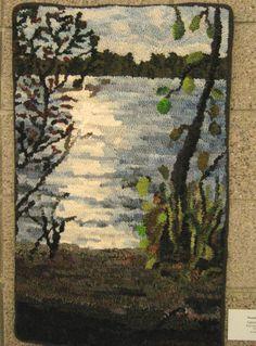 """""""Light by Water"""" hand hooked by Wanda Kerr"""