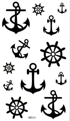 Nautical Temporary Tattoos Transfer Anchor Helm Rudder Celebrity Style Black Art