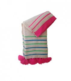 Paddo to Palmy Hand-Loomed Woollen Striped Pom Pom Blankets