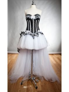 White and Black #Gothic #Burlesque High-Low Corset #Prom Dress
