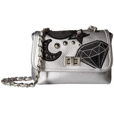 Steve Madden Hayley (Silver) Handbags ($58) ❤ liked on Polyvore featuring bags, handbags, shoulder bags, chain-strap handbags, silver purses, white handbags, white purse and purse shoulder bag