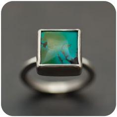 handmade square turquesa ring $85 Beautiful!!