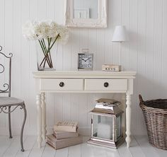Cream console table, ideal as hallway furniture for centre piece in hall and storage