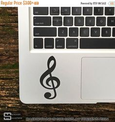 ON SALE Music Note Sticker, Music Note Decal, Treble Clef Stickers, Treble Clef Decals, Music Note Macbook Sticker, Treble Clef Laptop Decal by StickerMasters on Etsy https://www.etsy.com/listing/259152743/on-sale-music-note-sticker-music-note