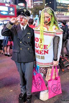 using your hair as noodles, VERY clever ... PART 2, Halloween 2014, Shibuya, Tokyo. tons more photos here: https://www.flickr.com/photos/tokyofashion/sets/72157648649576407/    31 October 2014   #couples #Fashion #Harajuku (原宿) #Shibuya (渋谷) #Tokyo (東京) #Japan (日本)