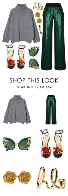 """Grey and green"" by piedraandjesus on Polyvore featuring moda, Rasario, Dolce&Gabbana, Charlotte Olympia, Liberty y Chloé"