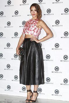 Jessica Alba wearing Tanya Taylor Fall 2014 and Diane von Furstenberg Rae Mesh Sandals