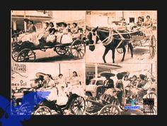Las calesas de tracción animal caracterizaron desde un inicio la feria de la Uva en los desfiles (Archivo General Municipal, agosto de 1959)