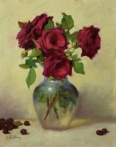 Still Life Drawing, Still Life Art, Oil Painting Flowers, Rose Paintings, Floral Paintings, Still Life Flowers, Flower Aesthetic, Pictures To Paint, Beautiful Roses
