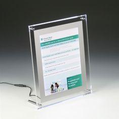 x 11 Acrylic Sign Holder for Tabletop or Wall Mount Use, LED Illuminated - Clear Acrylic Panels, Acrylic Frames, Clear Acrylic, Photo Frame Display, Picture Frames, Led Sign Board, Illuminated Signs, Tabletop Signs, Led Light Box