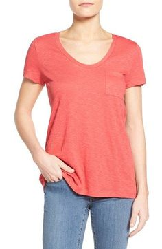 Caslon® Relaxed Slub Knit U-Neck Tee (Regular & Petite)