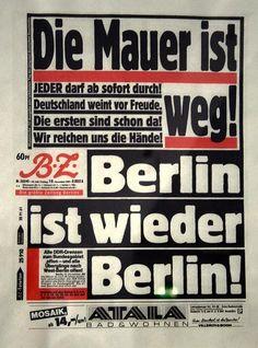 Esta es la portada del Berliner Zeitung el 10 de noviembre de 1989.  ¡El Muro se ha ido! ¡Berlín es otra vez Berlín!  El podcast de Primera Página aquí: http://www.rtve.es/alacarta/audios/primera-pagina/primera-pagina-muro-berlin-29-06-15/3190810/