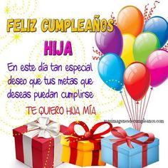 imagenes-de-cumpleanos-a-mi-hija Happy Birthday Princess, Happy Birthday Daughter, Happy Birthday Wishes, Birthday Greetings, Spanish Birthday Cards, Pizza Day, Happy Birthday Pictures, Happy B Day, Love Images