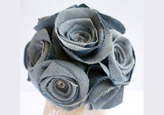 Denim Rose Bouquet, Set of 10 Soft Upcycled Denim Roses, blue, blueberry, petrol, natural. $165.00, via Etsy.