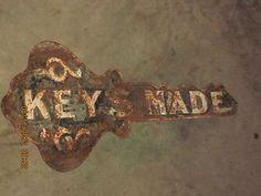 "Aafa Antique 33"" Locksmith Key Trade Sign Rusty Relic Folk Art 2 Sided Keys Made:  $214"