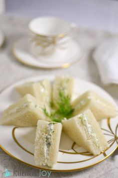 If you're looking for an extremely quick and easy recipe for a Downton Abbey tea party, or a bridal or baby shower, or you just so happen to have an extra cucumber lying around, then give these cucumber sandwiches a try. They're deliciously light and fresh, and I love the crunch of the cucumber.