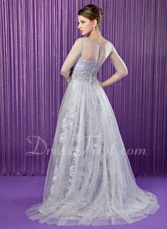 A-Line/Princess Scoop Neck Sweep Train Tulle Charmeuse Lace Mother of the Bride Dress With Beading Flower(s) Sequins Tea length and no fancy beading. Tulle Lace, Tea Length, Dress First, Mother Of The Bride, Ball Gowns, Scoop Neck, Sequins, Fancy, Beads
