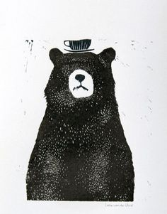 "Liekeland – Linocut Print ""Bear with Tea Cup"" 