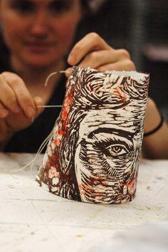 sculptural papermaking paper art printmaking relief print dimensional