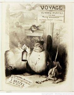 Tony Johannot, Affiche pour Voyage où il vous plaira, lithographie, 1843, BnF/Gallica