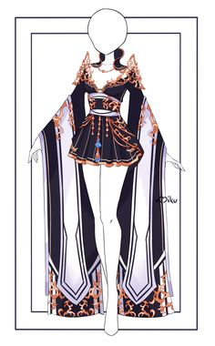 Manga Clothes, Drawing Anime Clothes, Kawaii Clothes, Pretty Outfits, Cool Outfits, Fashion Outfits, Anime Outfits, Anime Girl Dress, Fantasy Dress