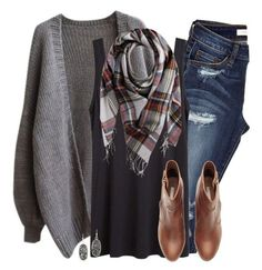 """""""Gray oversized cardigan, plaid scarf & ripped denim"""" by steffiestaffie ❤ liked on Polyvore featuring The Row, Pieces, H&M, Kendra Scott, women's clothing, women's fashion, women, female, woman and misses View similar items on Amazon"""