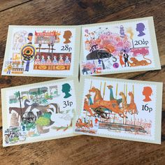 British Fairs Postcards, Set of four vintage PHQ picture cards celebrating trade and produce fairs, circus, merry go round and side shows Postcards For Sale, Vintage Postcards, Merry Go Round, Picture Cards, Vintage Floral, Postage Stamps, Wrapping, British, Scrapbooking