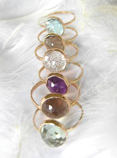 Smokey Quartz Stacking Gemstone Ring door MichelleLenaeJewelry