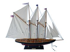 Wooden Atlantic Model Sailboat Decoration 35quot;