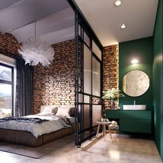 New home design loft dreams ideas Industrial Bedroom Design, Loft Interiors, Home, Small Apartments, Bedroom Design, Studio Apartment Divider, Loft Design, House Interior, Interior Design Bedroom