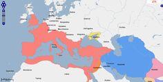 ➯ Ver en Pinterest: #102 #Mapa de Europa, Oriente Medio y África del Norte, Año 275.  Fuente: geacron.com