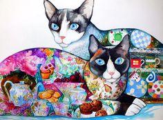 Cats and tea - oxana zaika