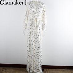 263e43b8984 Long sleeve split robe maxi dress Клубные Платья